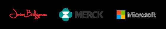 A list of Niche Marketing's partners including Junior Bridgeman, Merck and Microsoft